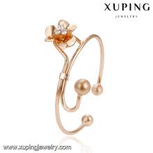 51940 Venta al por mayor de moda joyería de las mujeres elegante estilo cuentas forma de flor con brazalete de imitación de diamantes
