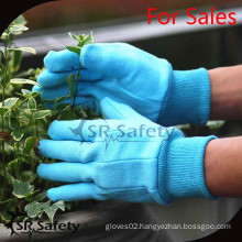 SRSAFETY bule cotton with small pvc dots coated gloves