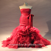 2017 ED Bridal Real Sample Strapless Sleeveless Mermaid Red Sexy Wedding Dress With Fishtail