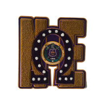 Chenille embroidery emblem patch for clothing