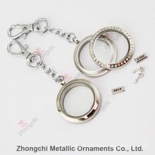 Aço inoxidável Locket Keychain redondo para o presente da promoção