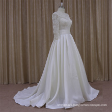 2016 Pretty Handmade Flowers Satin Wedding Dress