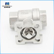 China Top Qualität ASTM CE Drei-Wege-Montage Direkt Typ Control Kugelhahn verschraubt Ende
