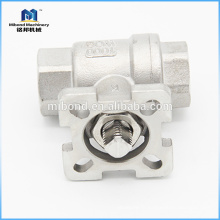 Type de haute qualité ASTM CE à trois voies de montage direct de robinet à tournant sphérique de contrôle de vanne à extrémité vissée