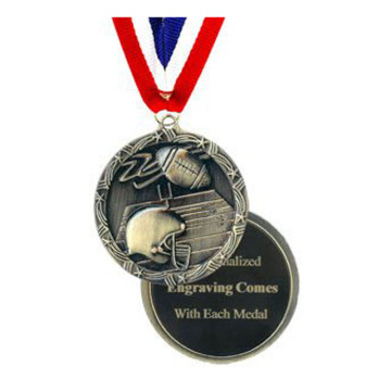 Engraved Gold Soccer Medal Dengan V-neck Ribbon