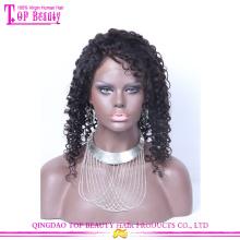 Оптовая высокое качество необработанные девственница перуанский человеческих волос глубокая вьющиеся полный парики шнурка для чернокожих женщин
