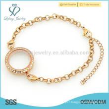 Watch bracelet with floating charm locket,glass memory locket bracelet jewelry