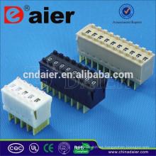 Daier Negro / Blanco / Crema color 1 ~ 12 posición plástico 1248 Tri-State Dip Switch