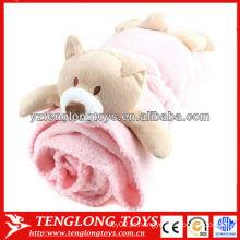 Tecido de poliéster 100% cobertor de lã coral com brinquedos de animais