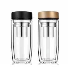 Eco-friendly Double Wall Borosilicate Glass Water Bottle With Tea Infuser Reusable Glass Water Bottle