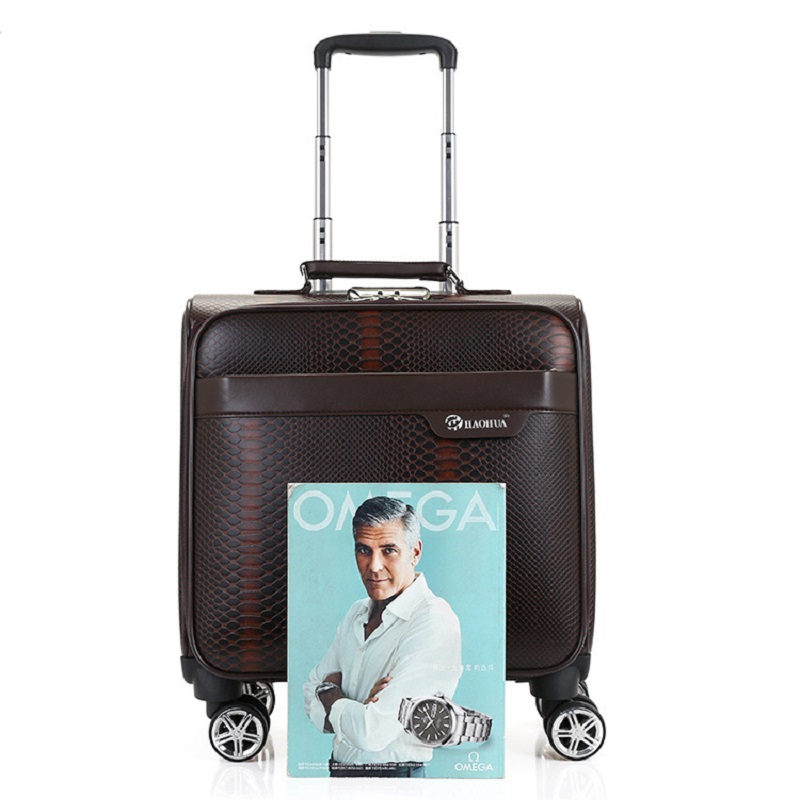 Brown Pu Aluminium Alloy Trolley Travel Luggage