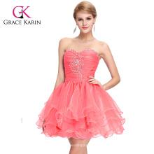 Grace Karin trägerlosen Wassermelone Red Beaded kurze Puffy Homecoming Kleider CL6077-1