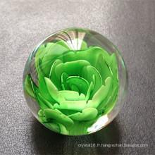 Boule en verre de cristal de mode avec la fleur laser 3D