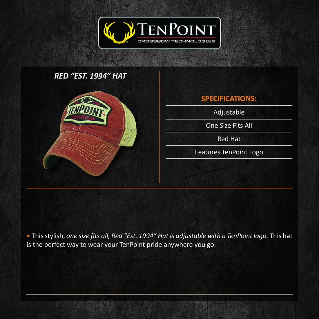 TenPoint_Red_Est_1994_Hat_Product_Description
