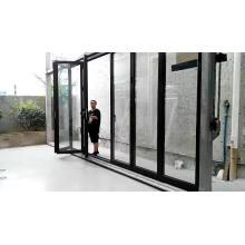 Metal accordion doors aluminium alloy interior glass door low-e casement with side-light