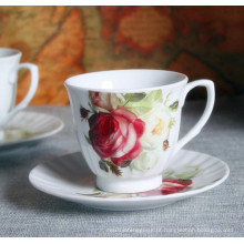 Flor de estilo europeu gravado Porelain Coffee Cup