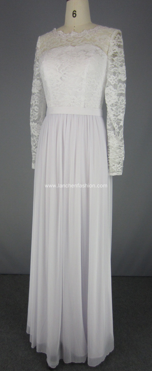 White Long Sleeve Lace Top Evening Prom Dress
