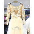 Alibaba hot sale long sleeve a-line wedding dress bridal gown