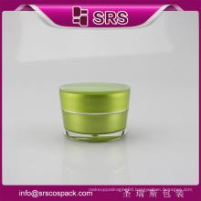 Green color Shape Plastic Cream jar 15ml 30ml 50ml Empty Cosmetic Packaging
