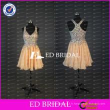ED Robe nuptiale élégante et réelle à perles lourdes A Line Robe de soirée courte en mousseline de soie