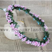 New design floral hair accessories Pink Berry flower crown headband