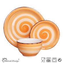 18PCS Ceramic Dinnerware Set Handpainted Spinwash Design