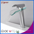 Fyeer High Body Single Handle Glass Spout Waterfall Grifo de lavabo de cromo grifo mezclador de agua