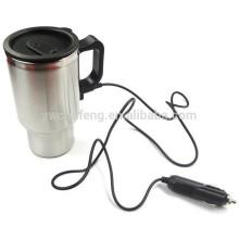 12 В 450 мл из нержавеющей стали серебро путешествия с подогревом автомобильный адаптер чашки кофе Электрический кружка