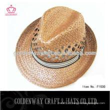 Chapeaux de paille de paille en gros avec bande personnalisée
