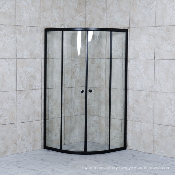 Black Aluminium Clear Glass Shower Room Round Shower Base