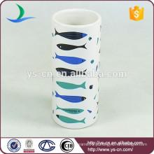 YSb40087-01-t peixe de mar decalque acessórios de banho de cerâmica tumbler para casa e hotel