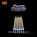 Long Standing Reputation Cake Decoration Pure Paraffin Metálico Gold Birthday Set de vela y lema