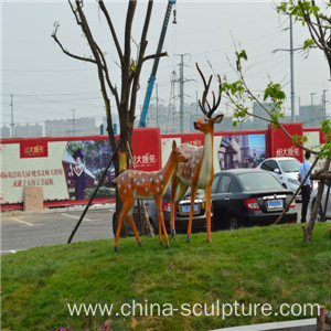 simulation fiberglass animal sculpture-deer