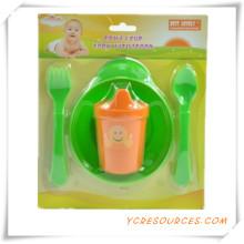 Childern Sichere Tragbare Baby Löffel und Gabel Baby Geschirr Set2015 Werbegeschenk für Baby Care 3 STÜCKE mit einer Schüssel (HA78044)