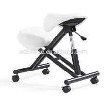 Cadeira de Ajoelhamento Ergonómica HY5001-1 com Assento de sela, Branco PU de Couro de Lazer cadeira de escritório em casa Cadeira