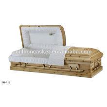 cercueil de bois dur avec poignées en alliage de zinc