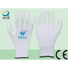 Forro blanco de poliéster con guantes de seguridad revestidos de poliuretano blanco