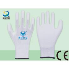 Белый полиэфирный вкладыш с белыми защитными перчатками с ПУ