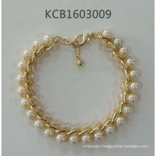 Elegant Bracelet Gold Plated Metal with Pearls