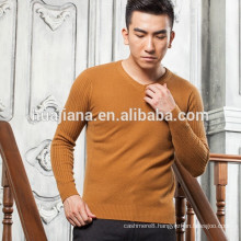 men's V neck 100% cashmere cable knitting sweater