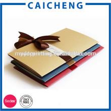 Folding Handmade Gift Card Wedding Invitation Card With Ribbon