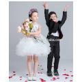 Jolie nouvelle mode robe de fille de fleur en couches pour la partie blanche couleur dentelle nouveau modèle fille robe 2016 pour le mariage et la performance