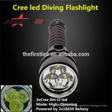 JEXREE 3XCREE XM-L2 LED Tauchen Taschenlampe Jagd Fackel Licht mit 18650 Akku