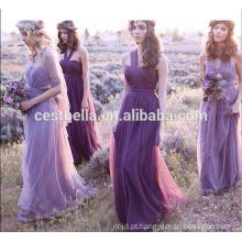 Um ombro ou fora do ombro Doce vestido de dama de honra romântico roxo 2016