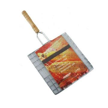Tela metálica para churrasco em metal cromado com cabo de madeira