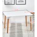 Mesa de comedor moderna barata del café del MDF de la pierna de madera del rectángulo