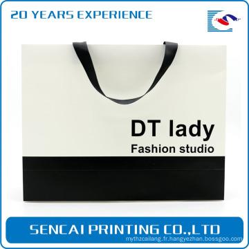 SenCai simple sac de papier collocation noir et blanc avec ceinture ruban