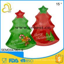 cheap quality assurance plastic melamine christmas tree shape tray