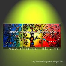 3 Panels Artist Handmade Trees Oil Painting,Licky Tree Canvas Artwork