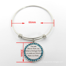Stylish Wire Charm Expandable Bangle Adjustable Silver Bracelet